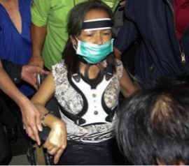 A visibly gaunt former President Gloria Macapagal-Arroyo during her arrest at the NAIA in 2011