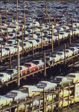 Automobiles being transported by rail from Detroit c.1973 (Source: Wikipedia)