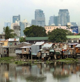Squatters indiscriminately dump waste onto Manila's waterways.