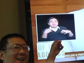 President Aquino's two hour fudged State of the Nation Address exhausts Sign Language guy