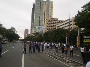 This is what it looked like walking there on a closed off Roxas Boulevard.
