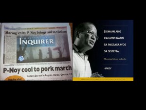 On the left Noynoy could care less. On the right taken from his Facebook, Noynoy welcoming pork protesters as his own. So limp-wristed of him