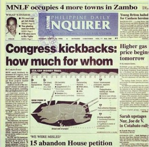 A 1996 front page headline exposing pork barrel thievery.