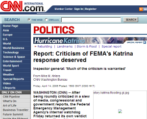 The headline says it: Katrina response efforts deserve some flak