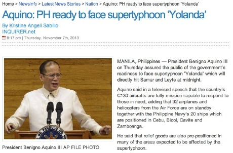 Screencap from the Inquirer.net: In hindsight BS Aquino overestimated the country's level of disaster preparedness.