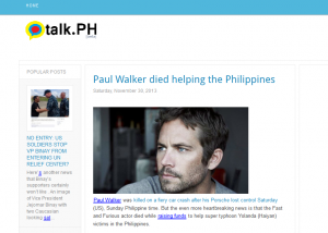 "Give it a few days and the story will morph into ""He died saving the Philippines""."