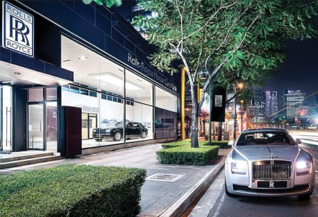 Awash in cash: Recently-opened Rolls Royce showroom in Manila