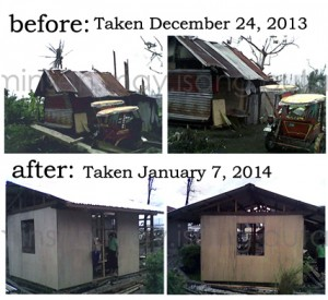 In less than a month, the dedication of Yolanda survivors complemented with bayanihan, transformed a make shift shelter into a livable humble home.