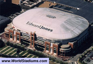 The Edward Jones Dome in St.Louis, Missouri. Average paid attendance per NFL game 56,957. Looks indoors to me.