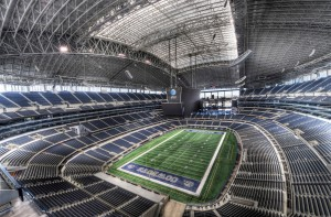 AT & T Stadium. Manny fought here. Home to the Dallas Cowboys. Average paid attendance per NFL game 88,043. But the structure in Bulacan is supposed to be the biggest world.