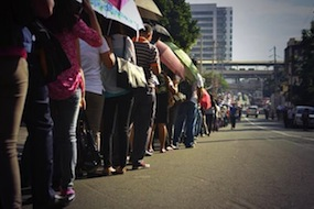 Massive queue of commuters hoping to get a ride on Manila's MRT