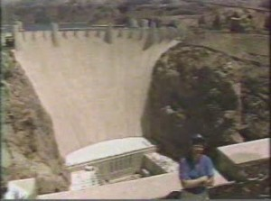 Dave visits the Hoover Dam while doing a week of shows in Las Vegas during Sweeps week 1987.