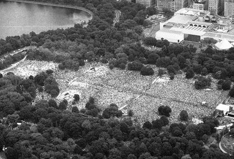 Hundreds of thousands of peaceful demonstrators gather in New York's Central Park, 1982 to protest the nuclear arms race.