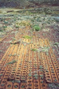 Marston Mats used for temporary airstrips in Wold War II