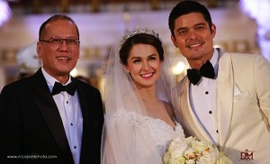 President BS Aquino managed to find time in his 'busy' schedule to grace the royal wedding of Dingdong Dantes and Marian Rivera.