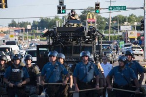 Police face rioters at Ferguson, Missouri
