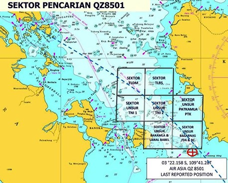 Map of search zone for missing AirAsia QZ8501(Source: Royal Malaysian Navy)