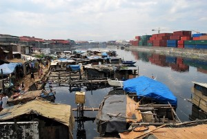 On normal days, Manila's famous harbour suffers from an unsightly squatter infestation.