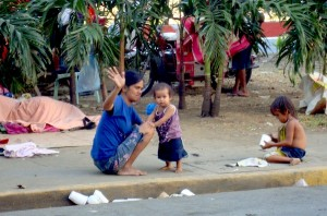 Street children and their homeless families are normally a common sight all over Manila.