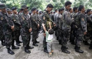 philippine soldier and child