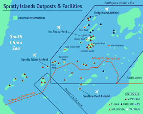 This map shows the major outposts and facilities in the Spratly Islands. The four operational airfields at Swallow Reef (Malaysia), Itu Aba (Taiwan), Thitu Island (Philippines) and Spratly Island (Vietnam) are indicated. China is in the process of constructing a fifth airstrip on the reclaimed land atop Fiery Cross reef. The yellow dots indicate reefs that China has reclaimed or begun to reclaim: Fiery Cross, Cuarteron, Hughes, Johnson South, Mischief, Eldad, Gaven and Subi. It is notable that all eight of these reclaimed reefs fall within the claims of the Philippines. (Asia Maritime Transparency Initiative)