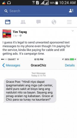tim tayag illegal campaigning