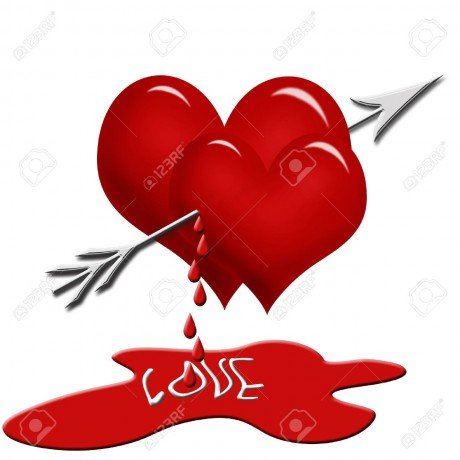 8549165-two-red-hearts-pierced-with-the-arrow-and-dripping-blood-isolated-on-white-Stock-Photo