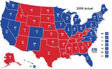 "2008 election map where Obama beat McCain almost 2-to-1 in the Electoral College. Note the ""blue wall"" in the upper midwest. Source: 270 To Win"