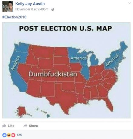 Facebook post that seems to look down on the people of states that voted for Trump.