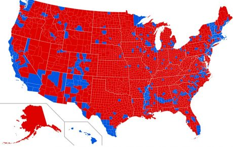 2016 election map by County, showing who will benefit the most from dissolving the electoral college. Source: Wikipedia